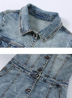 Turn Down Collar Single-breasted Denim Maxi Dress