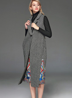 Notched Slim Embroidered Single-breasted Slit Long Vest