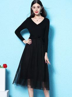 Black Slim Knitted Top Splicing Mesh Skater Dress