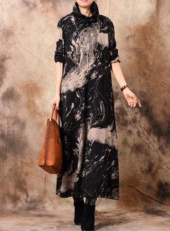 Plus Size Print High Neck Loose Maxi Dress