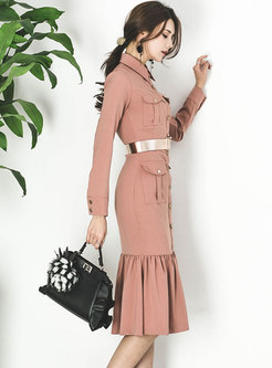 Elegant Turn-down Collar Ruffled Hem Midi Dress