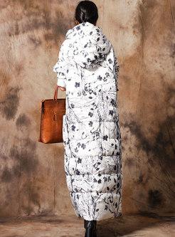 Fashion Print Hooded Long Down Coat