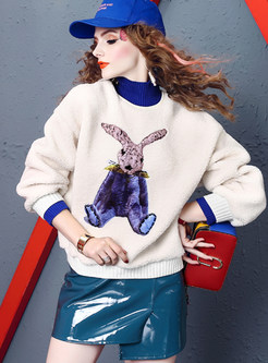 Half High Neck Color-blocked Animal Print Sweatshirt