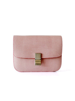 Brief Pink Lizard Pattern Clasp Lock Mini Crossbody Bag