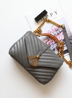 Vintage Grey Embroidered Cowhide Top Handle & Crossbody Bag