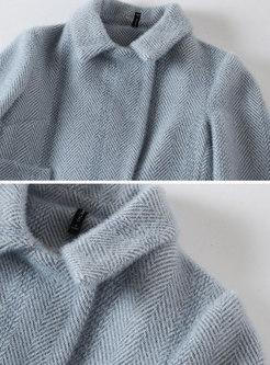 Elegant Blue Turn Down Collar Knee-length Woolen Coat
