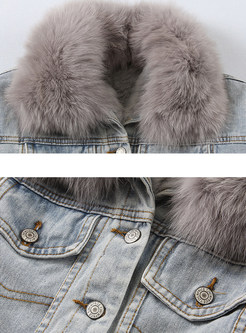 Lapel Single-breasted Denim Short Coat With Fur Collar