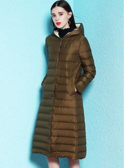 Hooded Single-breasted Pocket Slim Long Down Coat