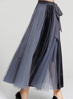 Chic Velvet Splicing Elastic Waist Bowknot Gauze Skirt