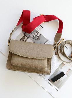 Stylish Khaki Solid Cowhide Retro Crossbody Bag