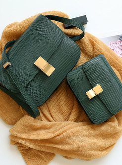 Brief Green Lizard Pattern Clasp Lock Crossbody Bag