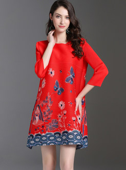 O-neck Three Quarters Sleeve Butterfly Print Shift Dress
