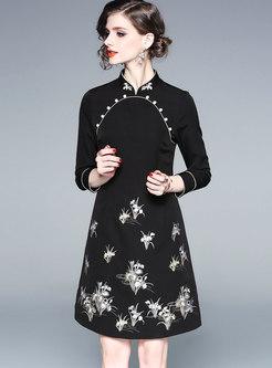 Elegant Mandarin Collar Long Sleeve Embroidered Dress
