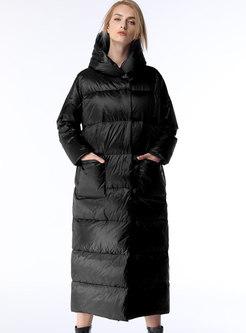 Brief Black Hooded Straight Down Coat