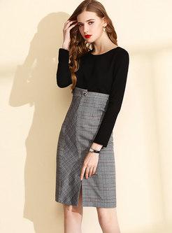 Grid Splicing High Waist Slit Sheath Dress