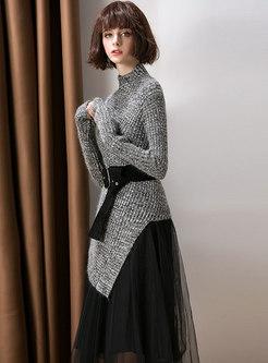 Autumn High Neck Tie-waist Knitted Top & High Waist Mesh Skirt