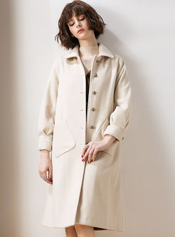 Solid Color Turn-down Collar Single-breasted Long Sleeve Coat