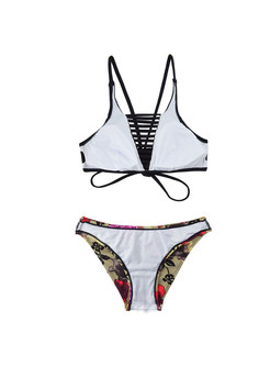 Fashion Hollow Out Print Micro Bikini
