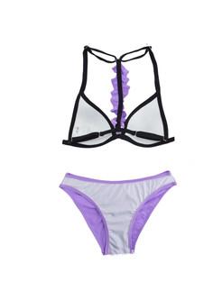 Sexy Solid Color Halter Falbala Micro Bikini