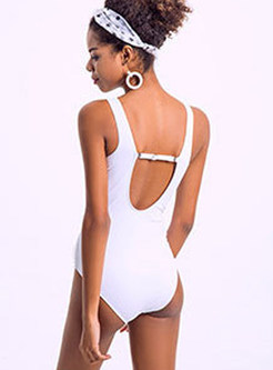Brief Pure Color Mesh Splicing One Piece Swimwear