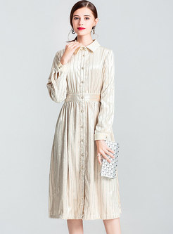 Velvet Striped Lapel Gathered Waist Single-breasted Dress