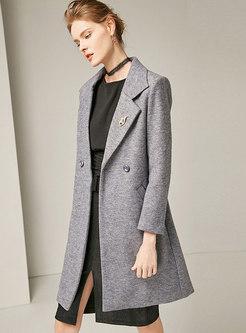 Fashion Solid Color Turn-down Collar Thicken Coat