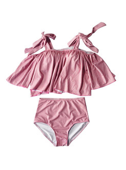 Sexy Pink Tied Striped High Waist Tankini