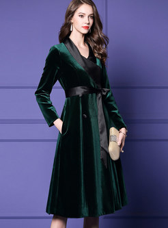 Green V-neck Thicken Velvet Gathered Waist Dress