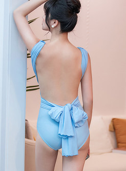 Solid Color Tied Bowknot Backless Beach Swimwear