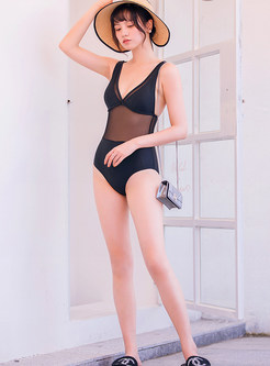 Black Mesh Splicing Backless One Piece Swimwear