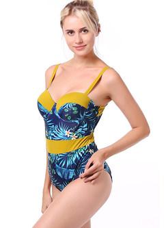 Fashion Color-blocked Print Splicing Swimwear