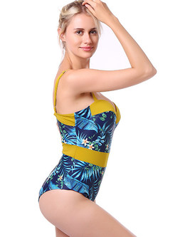 Fashion Color-blocked Print Splicing Swimwear