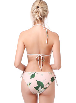 Sexy Halter Tied Micro Print Bikini