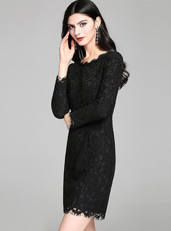 Black Long Sleeve Lace Bodycon Dress