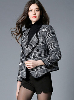 Chic Grid Double-breasted Short Woolen Coat