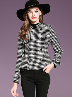 Stylish Grid Stand Collar Double-breasted Slim Coat