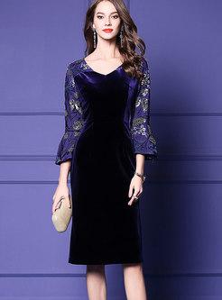 Purple V-neck Three Quarters Sleeve Sheath Dress