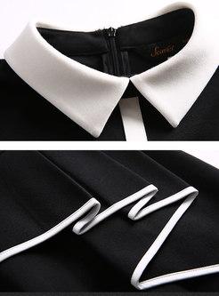 Elegant Color-blocked Polo Collar Slim Sheath Dress