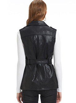Trendy Black Turn-down Collar Sleeveless PU Vest