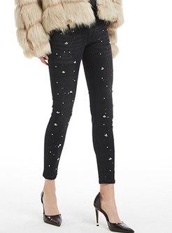 Autumn Black High Waist Beaded Detail Denim Slim Pants