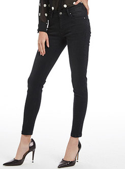 Fashion Black High-rise Elastic Pencil Pants