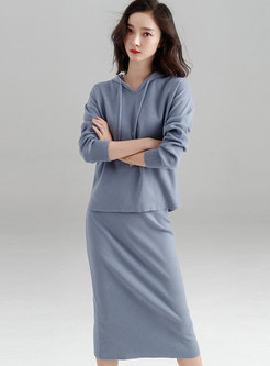 Solid Color Hooded Knitted Top & Elastic Waist Slim Skirt