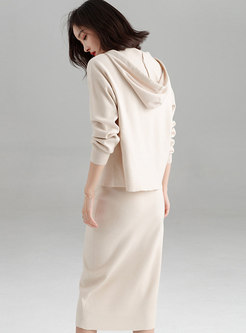 Casual Solid Color Hooded Knitted Top & Elastic Waist Slim Skirt