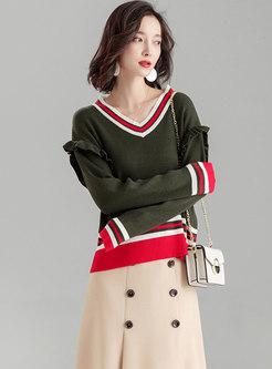 Stylish Color-blocked V-neck Loose Sweater
