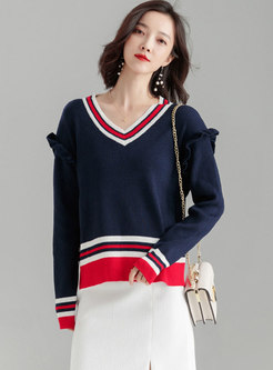 Trendy Color-blocked V-neck Loose Sweater