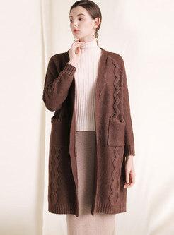 Stylish Pure Color V-neck Loose Cardigan