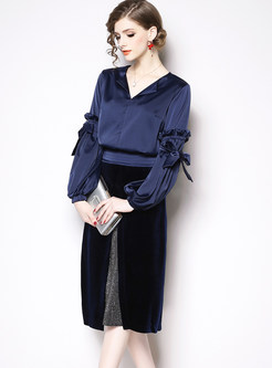 Fashion V-neck Falbala Blouse & Color-blocked Splicing Skirt