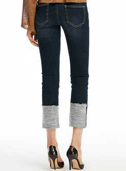 Chic Deep Blue High Waist Denim Pants With Tipped Detail