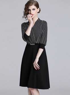 Fashion Three Quarters Sleeve Striped Splicing Skater Dress