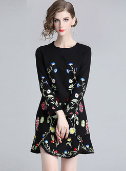 Long Sleeve High Waist Embroidered Sheath Dress